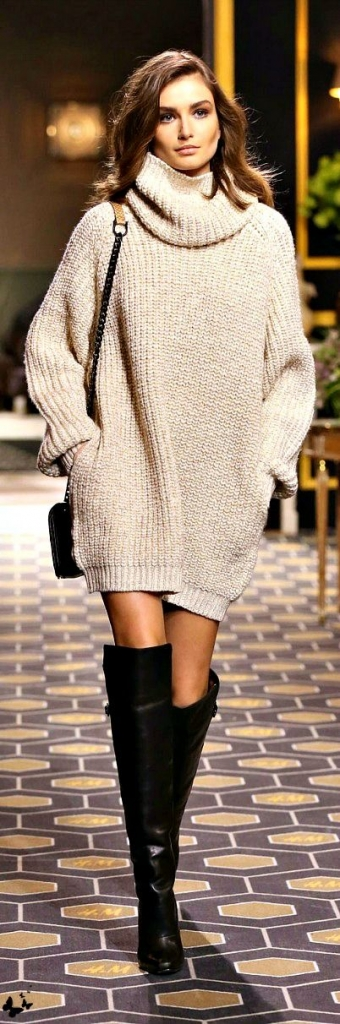 Outfits with Thigh High Boots and oversized knitwear
