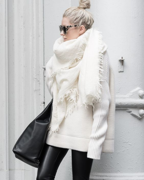Leather And Blanket Scarf Hi Fashion